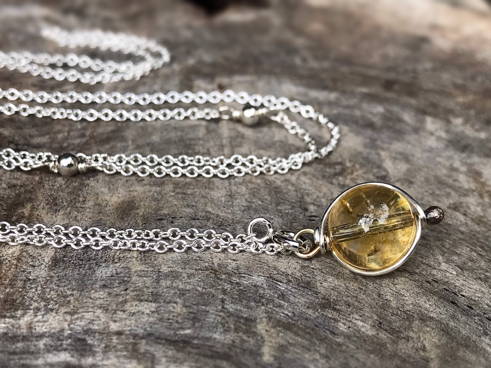 Citrine Necklace-wire wrapped crystal necklace-adjustable