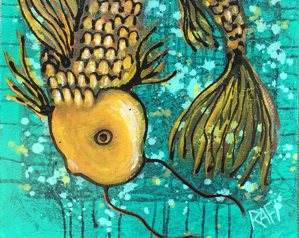 Koi Fish Wall Art By Artist Rafi Perez Mixed Medium On Canvas 16x20 Good Luck Koi Golden Fish Rafi And Klee Studios