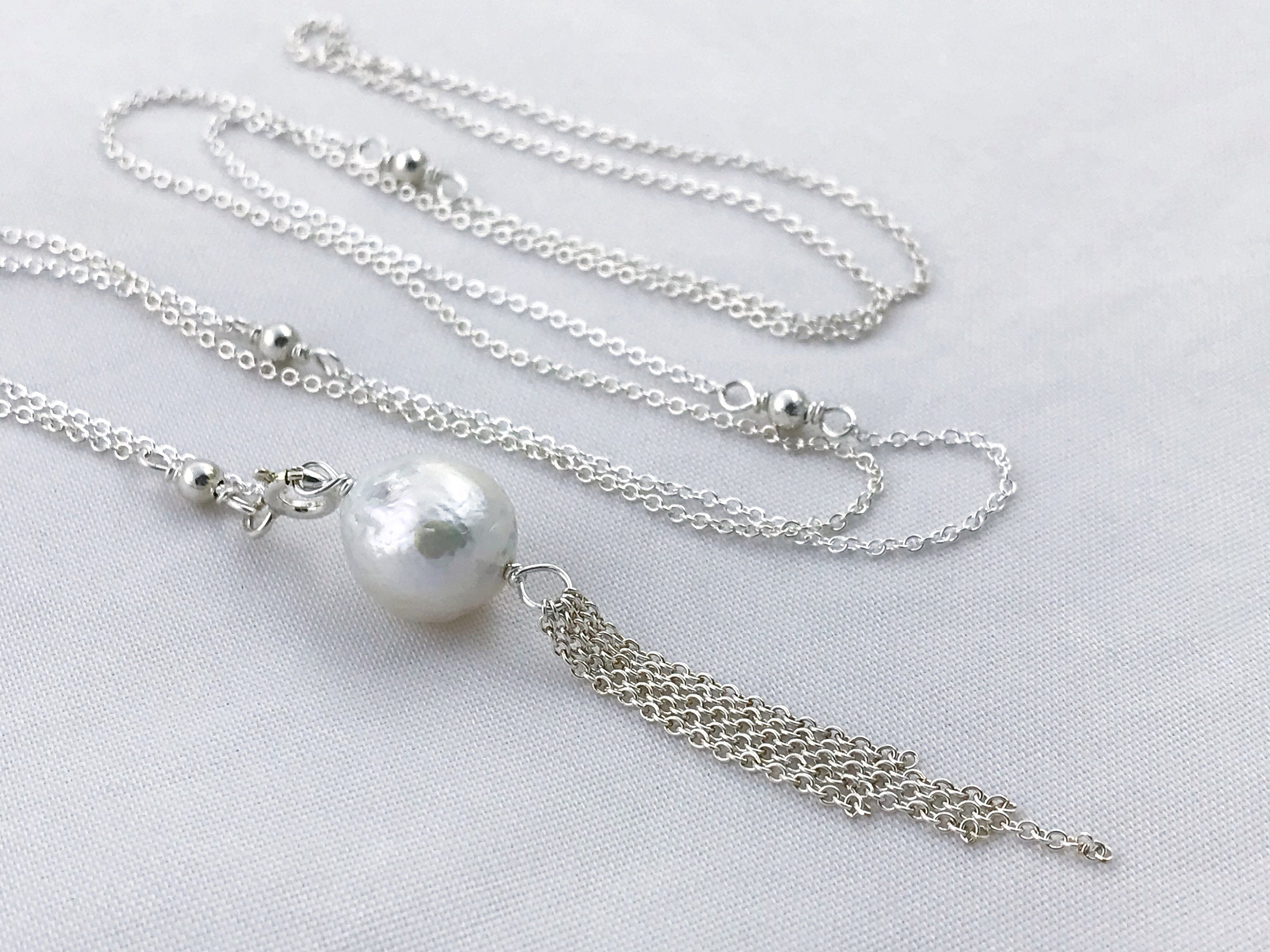 Pearl Tel Lariat Necklace Sterling